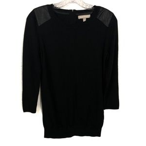 Banana Republic Black Sweater w/Leather Shoulder